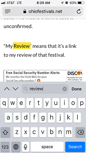 Find on Page in Mobile Safari shifts content - Support
