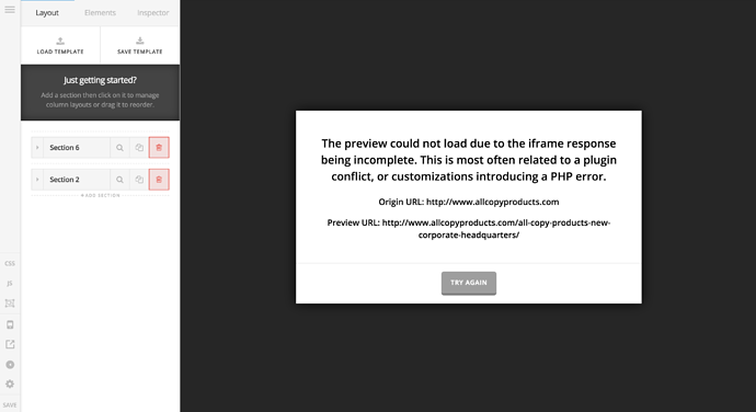 Page Builder Wont Load - iFrame Issue - Support - Apex Forum