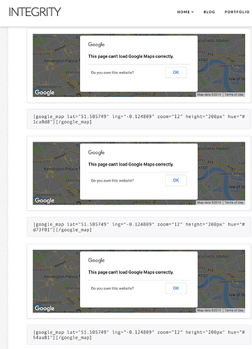 Google Maps not working at all - even on your own site - Support