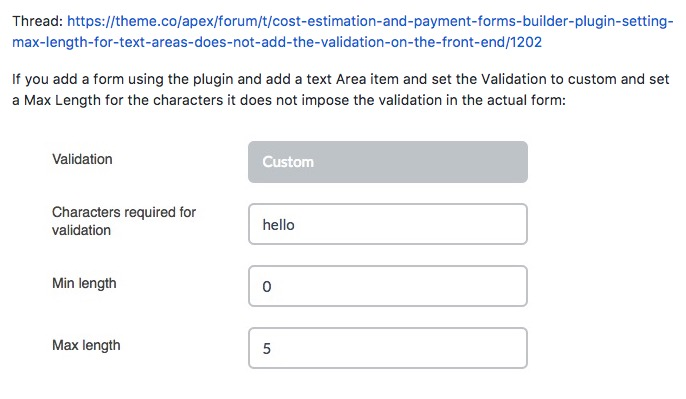 Cost Estimation and Payment Forms Builder plugin - setting max