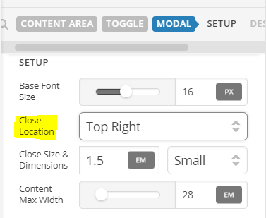 Move Content Area Modal close button within x-modal-content div