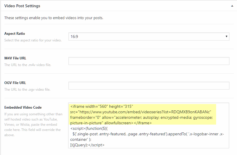YouTube Embed Above Masthead On Blog Post - Support - Apex Forum