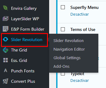 Error message when try to access Slider Revolution and Ess