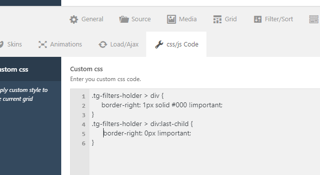 Adding a separation between the filtered list - Support - Apex